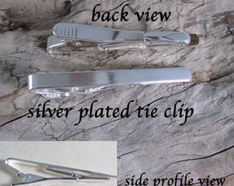Silver Plated Tie Clip -  Tie Bar - Suit Accessory - Gift Idea - Wedding, Prom, Special Event - Crafts