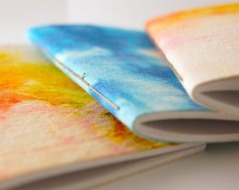 Rainbow Notebook - Dyed Hemp Notebook - Watercolour Theme Hemp Notebook - Leather Journal Refill - Handcrafted in Byron bay