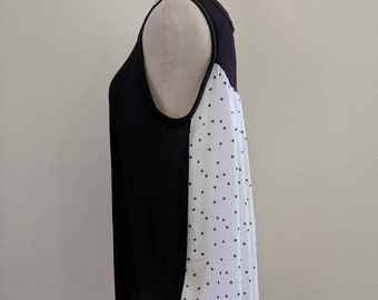 Nursing Camisole Cover XL Breastfeeding Tank Top Lightweight Nursing Shirt Stars Top Black and White Shirt