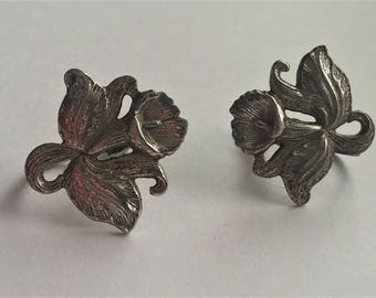 Vintage Art Deco Earrings Sterling Silver Earrings Vintage Screw Back Earrings Flower Earrings Pretty  Free domestic shipping