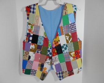 Handmade 1970s Vest Crazy Quilt Style Festival Reversible Multicolor Patchwork Wearable Folk Art Collage Retro Boho Hippie Woodstock Mosaic