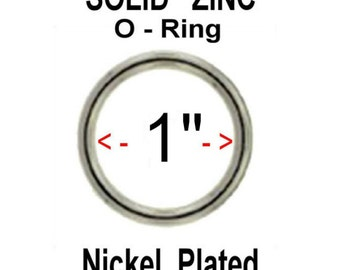 "New Lower Price - 100 PIECES - 1"" SOLID Zinc Metal O Rings - Nickel Plate Finish"