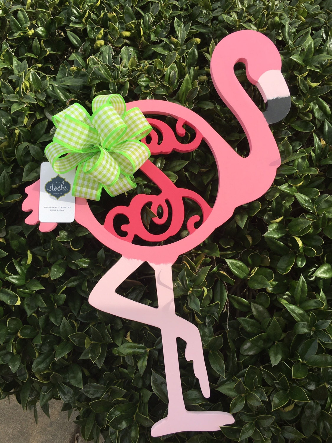 Flamingo Fancy Monogram Custom Wooden Monogram Single