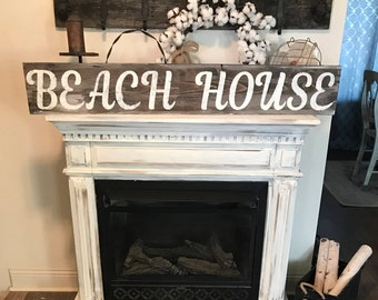 Beach house sign / home sign / farmhouse painted sign / lake sign