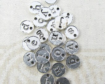 26 pcs, Full Alphabet, Initial Charm, Charm Bracelet, Lower Case Letter, Initial Pendant, Alphabet Charm, Silver Charm, ALF021az