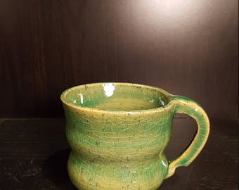 Liquid Jade Notched Handle Mug