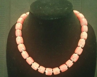 Chunky Coral Bead Necklace with Pewter Toggle Clasp