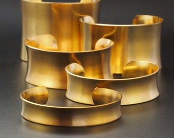 Concave Bangle Cuff Bases in Rich Low Brass - 5 Sizes to Choose From 12.5mm - 50mm