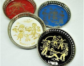 "Jamaica; Metal Souvenir Coasters; Set of 4; Approx. 3"" Across; FREE SHIPPING !!!"