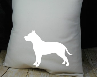 Pit Bull Pillow Cover Natural Color Canvas with White 18x18 Made to Order