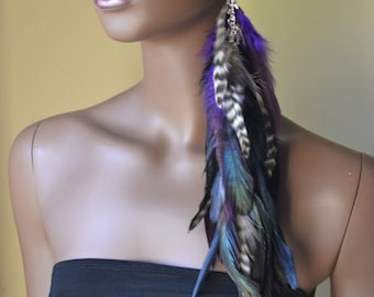 Extra Long Single Feather Earring Purple Black  Grizzly