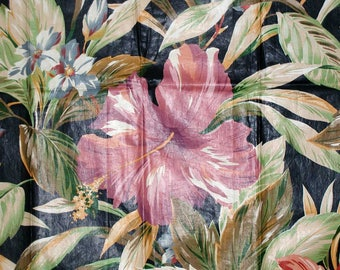 """Vintage Cyrus Clark """"Tahiti"""" Black Exotic Floral Hibiscus Flower and Ti Plant Leaves Chintz Sample From 1989 Great For Pillows"""