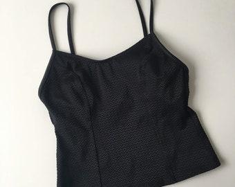 Vintage M black textured tankini top swimsuit swimwear bathing suit minimalist basic summer festival swim stretch spaghetti straps beachwear