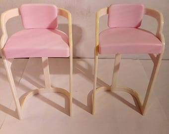 Vintage set Of 2 1990 Barbie Bar Stools