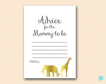 Advice for Mommy to be, advice for new mommy, advice cards for baby, Gold Safari Baby Shower, Jungle, Baby Shower Activities TLC452