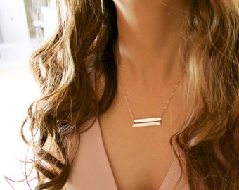 Double Bar Necklace/ Personalzied Name Plate/ Two Nameplate/ Engraved custom Jewelry/ 14K Gold Filled, Rose Gold, Sterling Silver, Everyday