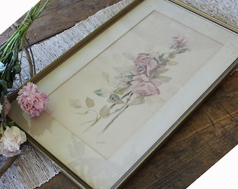 Victorian Framed Beautiful Pink Roses Pencil and WaterColor Painting Antique
