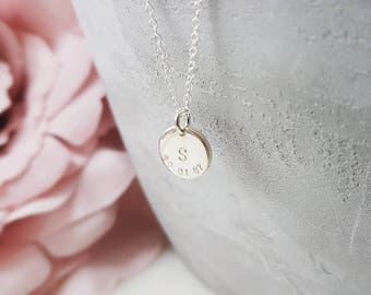 Personalised sterling silver initial and date necklace, initial necklace, date necklace, silver initial necklace, initials necklace