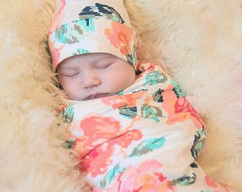 Floral Swaddle Set Blanket and Top Knot Hat or Headband - Stretchy Jersey Knit Swaddle for Baby Girl - Shower Gift Set