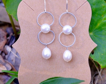 Pearl Drop earrings with Sterling & Upcycled SS cable