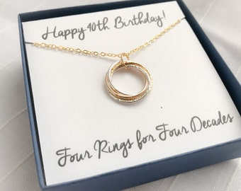 40th Birthday Gift 40th Birthday Necklace Four Rings Four Decades Necklace Sterling Silver Birthday Necklace Gold Decade Necklace