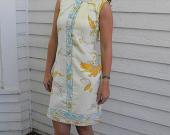 60s Yellow Floral Dress Print Sheath Summer Sleeveless McMullen Cotton Vintage 1960s S