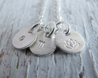 Tiny Charm Necklace, Personalized, Initials, Hand Stamped Sterling Silver, Mother's Necklace