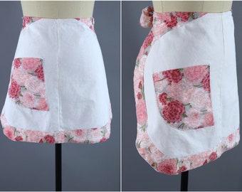 Vintage 1950s Apron / 50s Half Apron / White & Pink Floral Print Cotton / Kitchen Cooking Apron