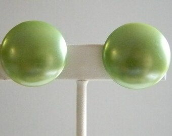 Vintage Mint Green Round Button Style Clip On Earrings