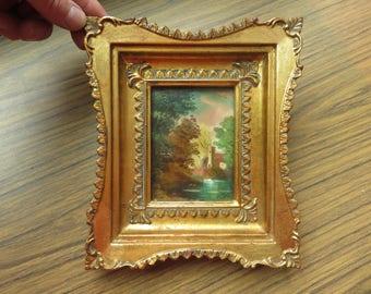 Vintage Hollywood Regency Italy Italian Gold Gilded Ornate Frame House Woods Scene