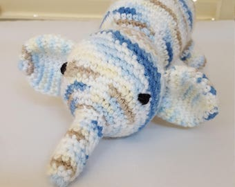 Blue And Brown Elephant Stuffed Animal / Crochet Doll / Amigurumi Toy/ Handmade Toys/ Gift For Kids/ Plushie Elephants