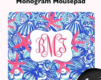 Lilly Pulitzer Inspired Mousepad - Personalized Mousepad - Monogram Mousepad