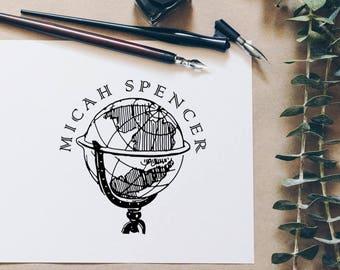 Name Stamp, Round Stamp, Circle Globe Stamp, Book Stamp, Personalized Self Inking Stamp, Custom Rubber Stamp - CN780
