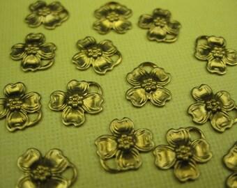 6 Vintage Brass Dogwood Flower Charm Pendants