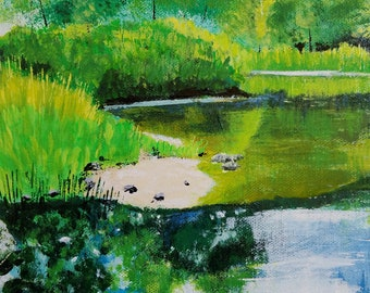 abstract landscape painting, water reflections, nature art, water painting, nature lover art