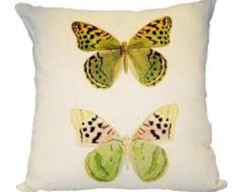 Two Butterflies Linen Pillow