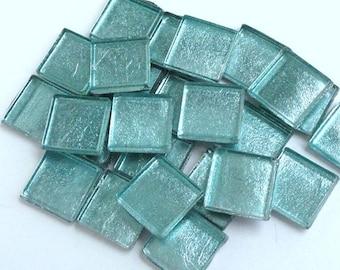 "15mm (3/5"") Aqua Blue Ice Metallic Foil Backed Glass Mosaic Tiles//Mosaic and Craft Supplies"