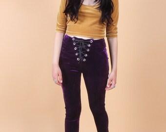 Purple Lace-Up Velvet Leggings - High-Waisted