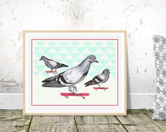 Affiche pigeons en planche à roulettes rouge, 5 x 7, 8 x 10 et 11 x 14