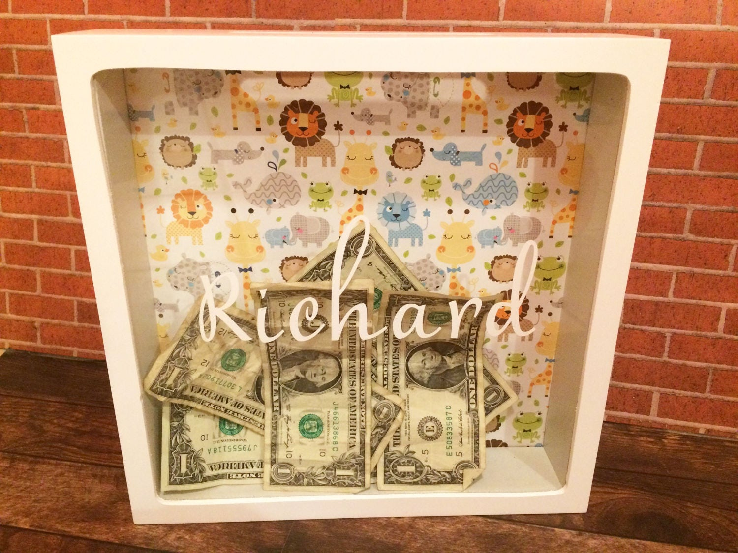 Personalized Bank Baby Shower Card Box Shadow Box Bank