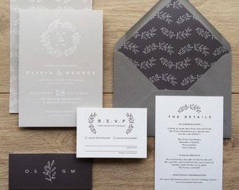 LAUREL | Rustic Wedding Invitations, Laurel Wedding Invites, Wedding Invite, Grey And Kraft Wedding Invitation Rustic  - Sample Set