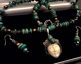 Gemstone Turquoise & Pearl Bali Silver Bohemian Carved Goddess Face Necklace Set