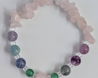 Pain Relieving and Calming, Rose Quartz, Aventurine and Flourite, Ladies Summer Bracelet