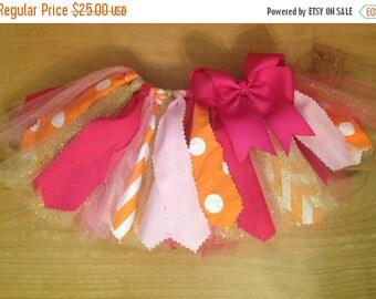 Pink, Orange, and Gold Scrap Fabric Tutu