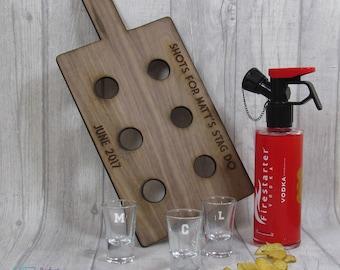 Personalised Shot Paddle Board And Shot Glasses, Shot Paddle Board, Stag Party Shots, Hen Party Shots