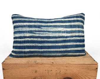 12x20 Inch Vintage Indigo African Mudcloth Pillow Cover Mud Cloth