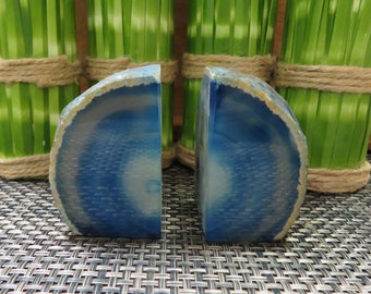 Mini Agate Book End - Dyed Blue Half Geode Druzy Polished Bookend Rock Formation - Lovely Book Ends (BD3-01)