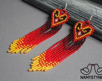 Valentines day heart earrings Valentines day gift Love jewelry Long earring Beaded hearts Heart earrings Seed bead earrings Red earrings