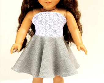 Fits like American Girl Doll Clothes - Bandeau Dress in Heather Gray and Lace | 18 Inch Doll Clothes