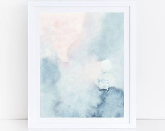 Printable Abstract Art, Watercolor Wall Art, Sky Print, Blue Watercolor Print, Blue Pink Abstract Art, Abstract Watercolor Art, Pastel Art